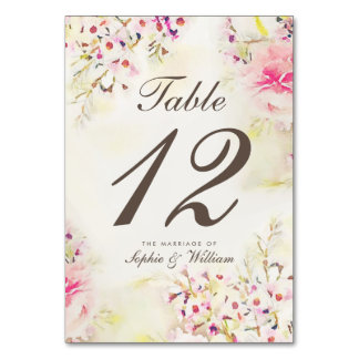 Watercolor Floral Boho Vintage Table Number Card