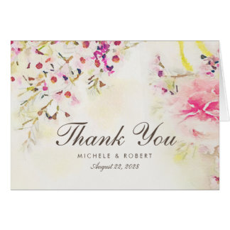 Watercolor Floral Boho Vintage Thank You Note Card
