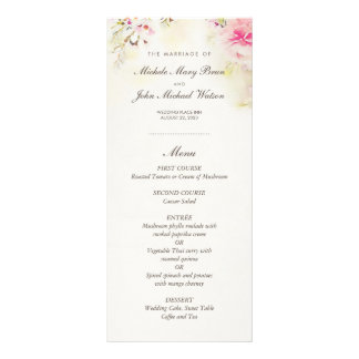 Watercolor Floral Boho Vintage Wedding Menu