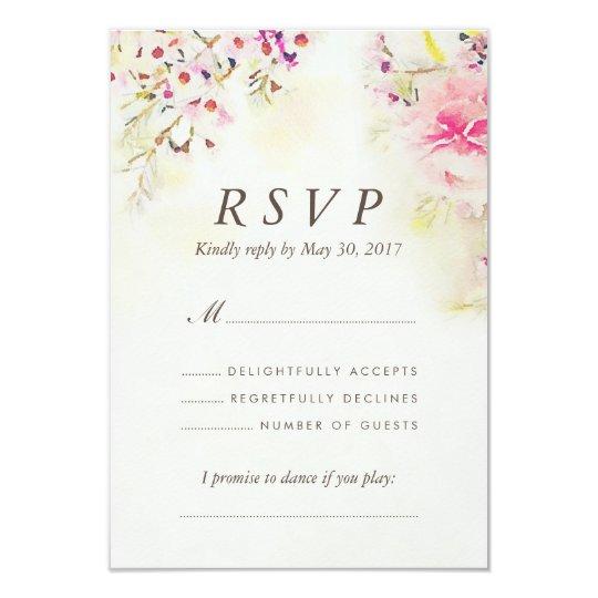 Watercolor Floral Boho Vintage Wedding RSVP Card