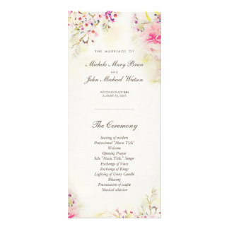 Watercolor Floral Boho Wedding Program Rack Cards
