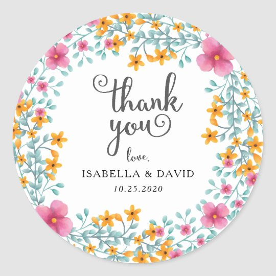 Watercolor Floral Border Wedding Sticker