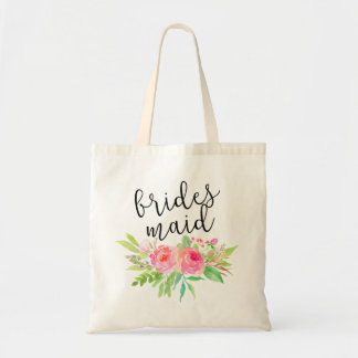 Watercolor Floral Bouquet Bridesmaid Tote Bag