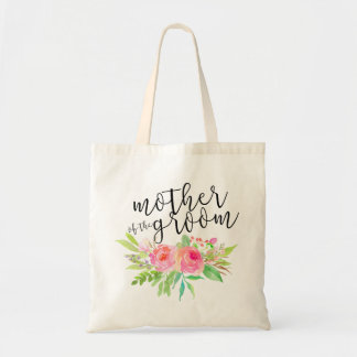 Watercolor Floral Bouquet Mother of the Groom Budget Tote Bag