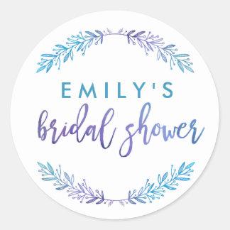 Watercolor Floral Bridal Shower Blue & Purple Classic Round Sticker