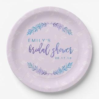 Watercolor Floral Bridal Shower Blue & Purple Paper Plate