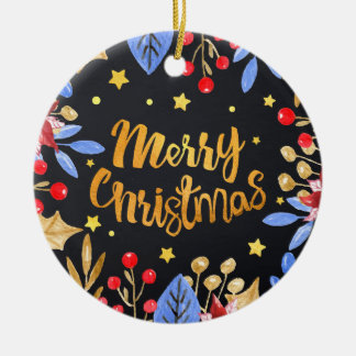 Watercolor floral bright golden Merry Christmas Round Ceramic Decoration