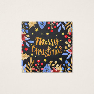 Watercolor floral bright golden Merry Christmas Square Business Card