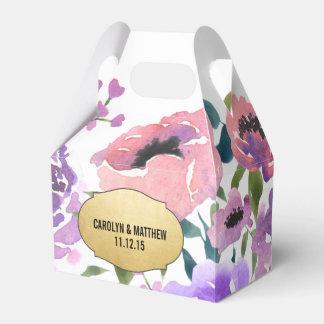 Watercolor Floral Bunch Gold Foil Wedding Favour Box