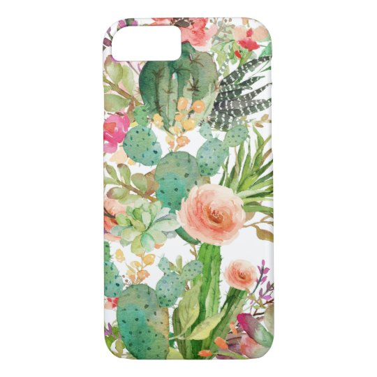 Watercolor Floral Cactus Pattern iPhone 8/7 Case