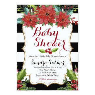 Watercolor Floral Christmas Baby Shower 13 Cm X 18 Cm Invitation Card