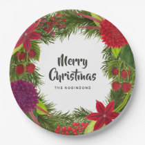 Watercolor Floral Christmas Party Paper Plate