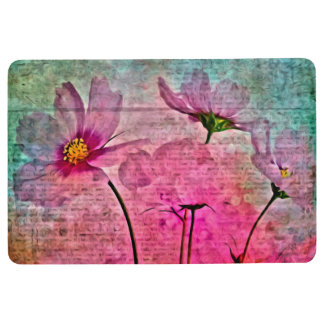 WATERCOLOR FLORAL COLLAGE PINK & GREEN Floor Mat