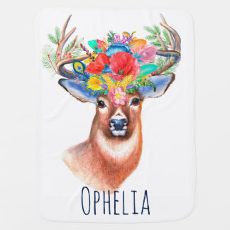 Watercolor Floral Deer & Baby's Name Baby Blanket