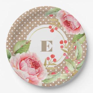 Watercolor Floral design Bridal Shower Paper Plate