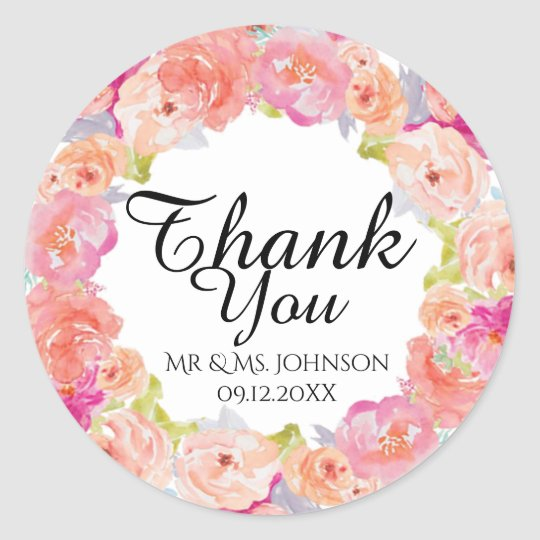 Watercolor floral Design Classic Round Sticker