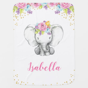 Watercolor Floral Elephant Personalised Girl Baby Baby Blanket