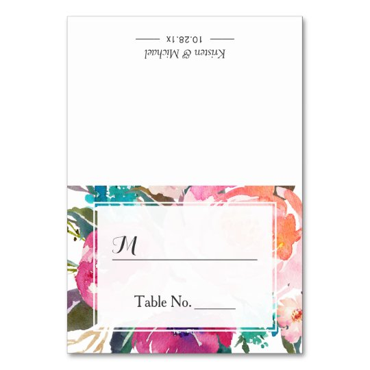 Watercolor Floral Escort Wedding Seating Place Table Card