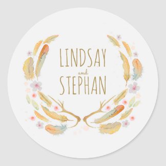 Watercolor Floral Feathers Antlers Rustic Wedding Round Sticker