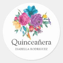 Watercolor Floral Fiesta Quinceañera Classic Round Sticker