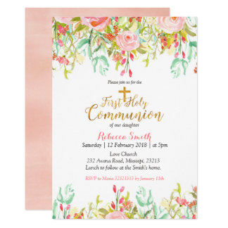 Watercolor floral First Holy Communion Invitation