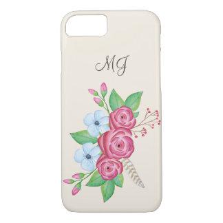 Watercolor Floral Flower Bouquet + Monogram iPhone 7 Case