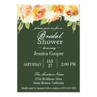 Watercolor Floral Forest Green Bridal Shower Card