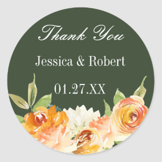 Watercolor Floral Forest Green Personalised Classic Round Sticker