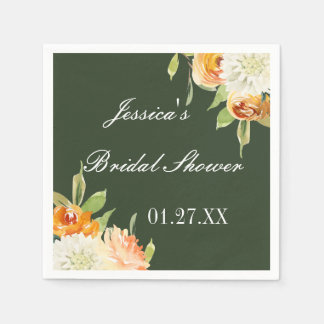 Watercolor Floral Forest Green Personalised Disposable Napkins