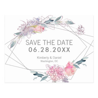 Watercolor Floral Geometric Save the Date Postcard