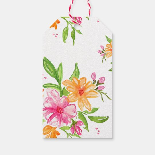 watercolor floral gift tag birthday valentines day