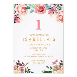 Watercolor floral girls birthday invitation