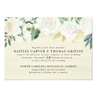 Watercolor Floral + Gold Accent Wedding Invitation