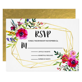 Watercolor Floral Gold Geometric RSVP Card