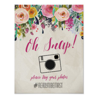 Watercolor Floral Hashtag Wedding Sign