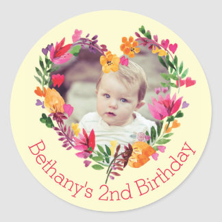 Watercolor Floral Heart Baby 2nd Birthday Photo Round Sticker