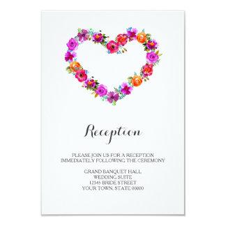 Watercolor Floral Heart Shaped Reception Info Card 9 Cm X 13 Cm Invitation Card
