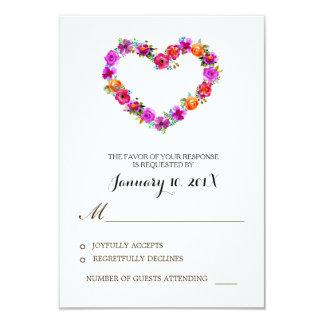 Watercolor Floral Heart Shaped Wedding RSVP 9 Cm X 13 Cm Invitation Card