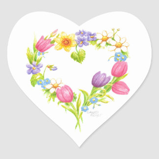 Watercolor Floral Heart Stickers