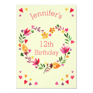 Girls 12th birthday invitations zazzle uk watercolor floral heart wreath girl 12th birthday invitation filmwisefo