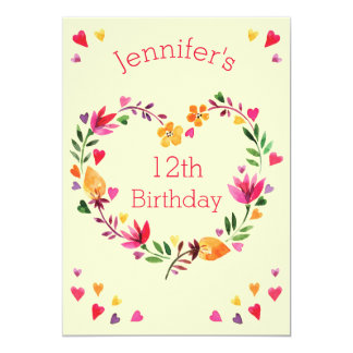 Watercolor Floral Heart Wreath Girl 12th Birthday 13 Cm X 18 Cm Invitation Card