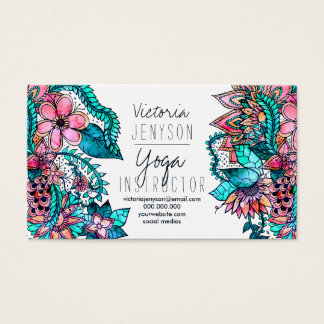 Watercolor floral illustration yoga instructor business card