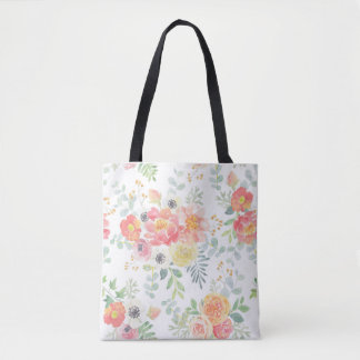 Watercolor Floral in Pastels Tote Bag