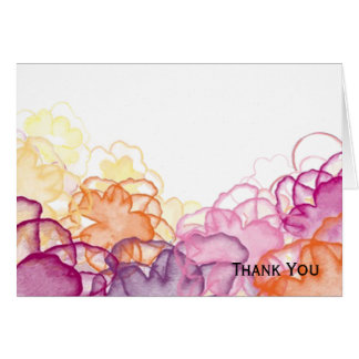 Watercolor Floral in Pink, Purple, and Orange Card