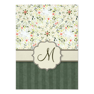 Watercolor Floral Kaleidoscope with Monogram 14 Cm X 19 Cm Invitation Card