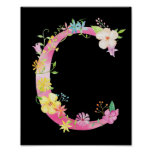 Watercolor Floral Letter C Poster