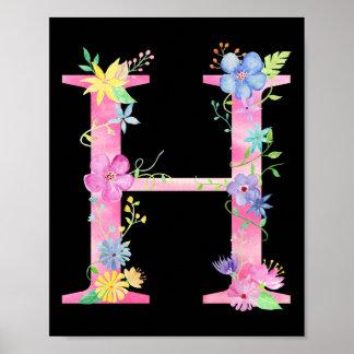 Watercolor Floral Letter H Poster