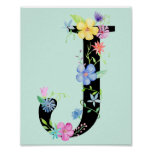 Watercolor Floral Letter J Poster
