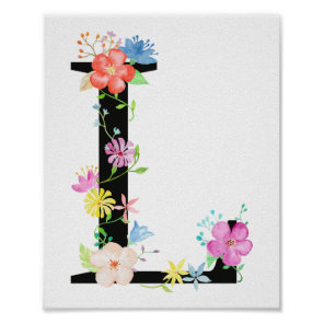 Watercolor Floral Letter L Poster