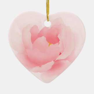 Watercolor Floral Light Pink Peony Flower Ceramic Heart Decoration